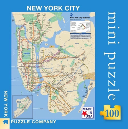 New York Puzzle Company 100 Piece Mini Jigsaw Puzzle : New York Subway Map