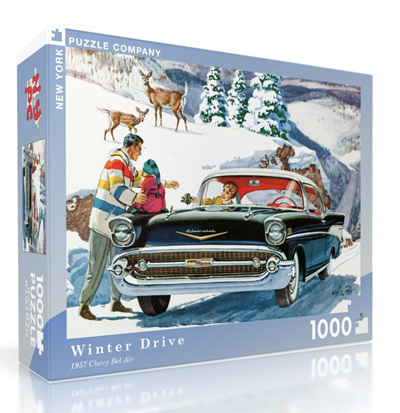 New York Puzzle Company 1000 Piece Jigsaw Puzzle: Winter Drive - 57 Chev Belair