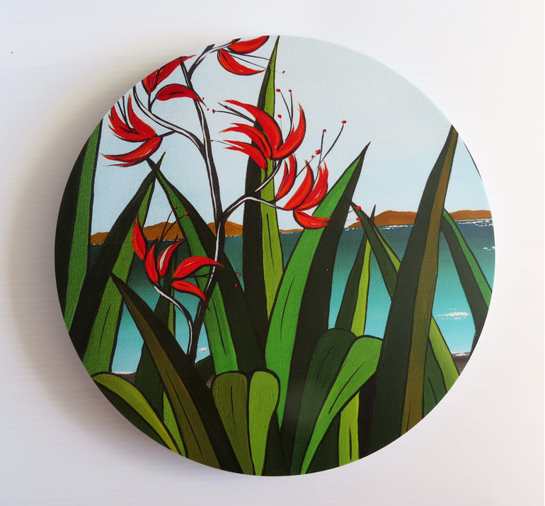 New Zealand flax flowers on an acrylic art circle