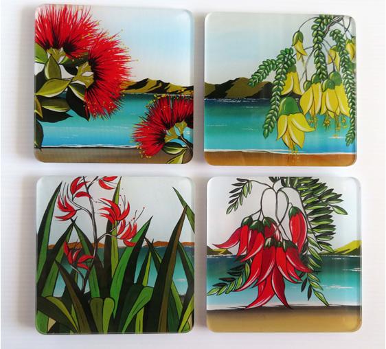 New Zealand flower coasters