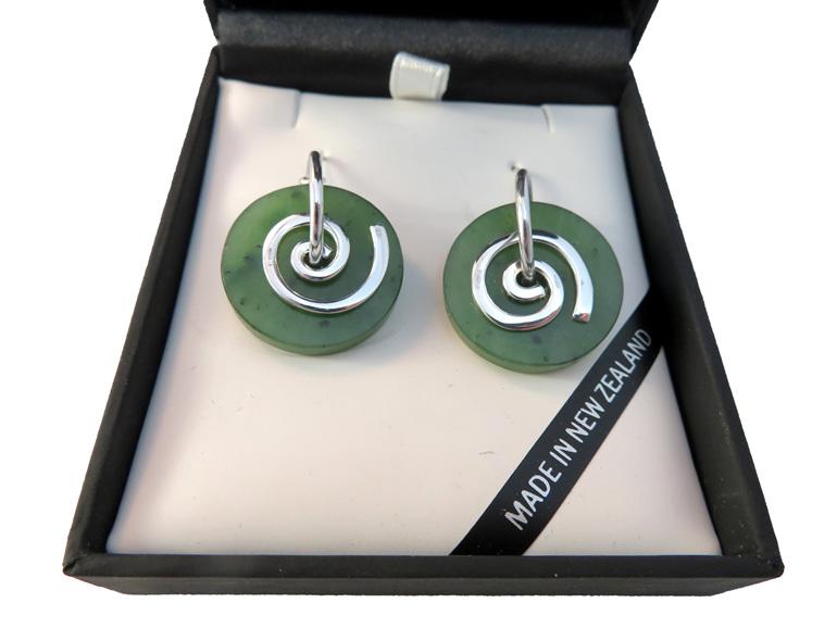 New Zealand greenstone Koru earrings