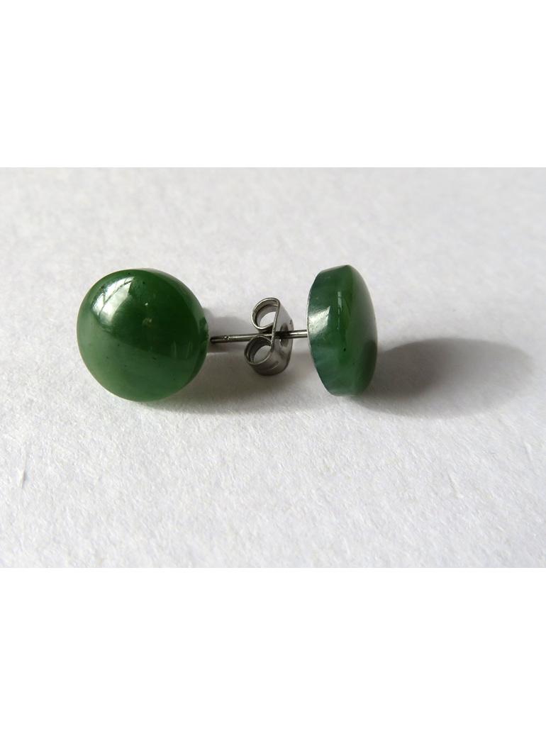 New Zealand greenstone or pounamu stud earrings