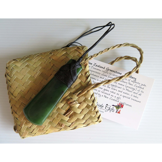 New Zealand greenstone pendant with kete made in New Zealand