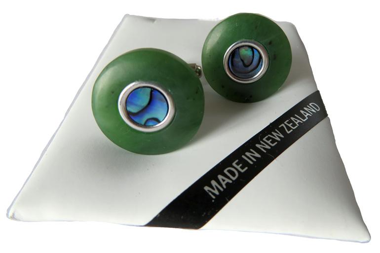 New Zealand greenstone round cufflinks with Paua inlaid.