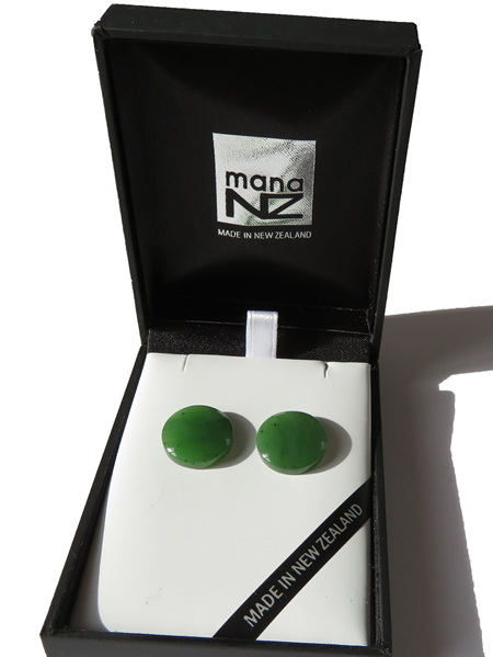 New Zealand greenstone round stud earrings GS1113