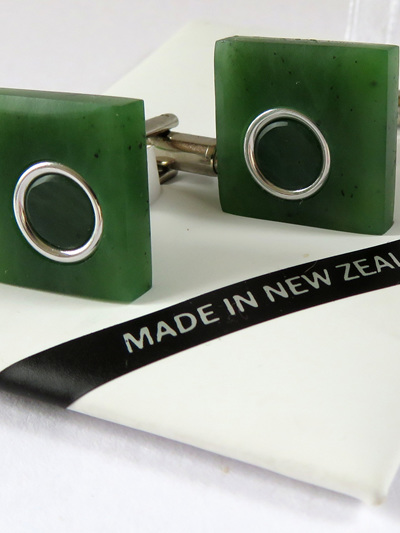 New Zealand greenstone square cufflinks 1063