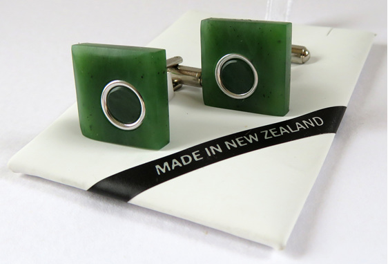 New Zealand greenstone square cufflinks