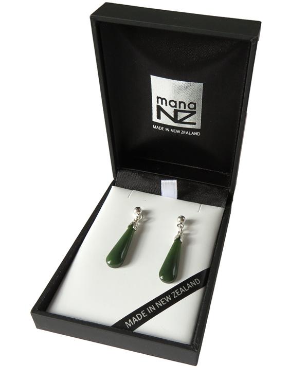 New Zealand greenstone stud drop earrings