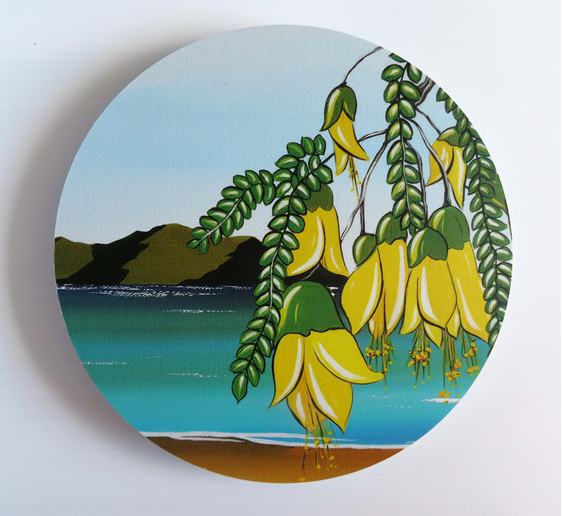 New Zealand Kowhai flower art circle