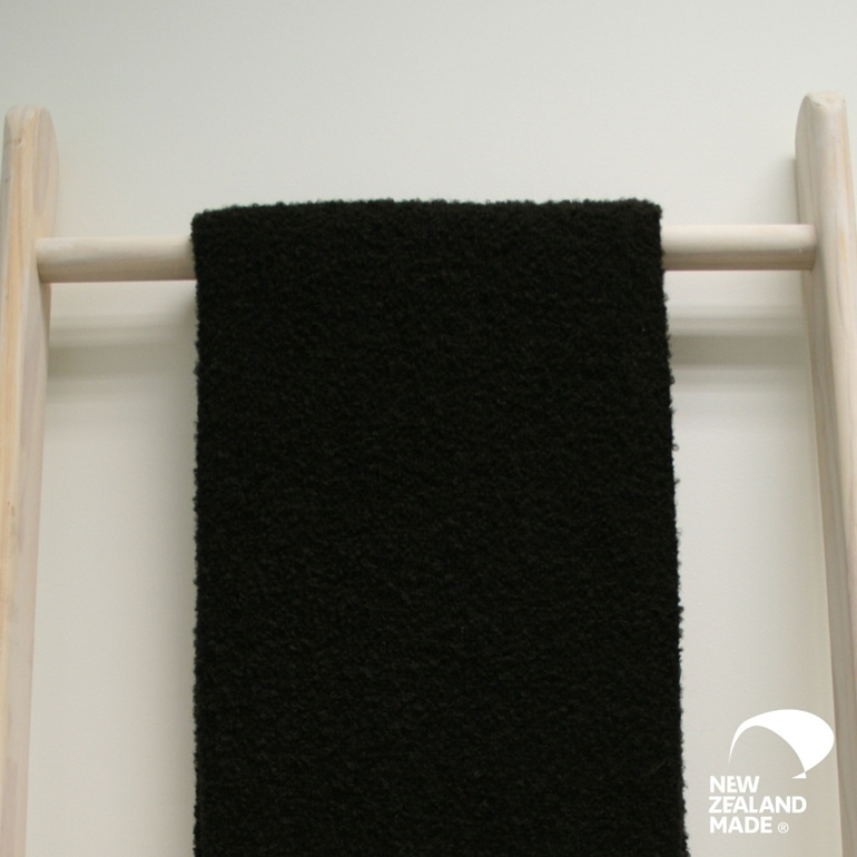 New Zealand Made Alpaca Throw Blanket  Boucle Black on Ladder