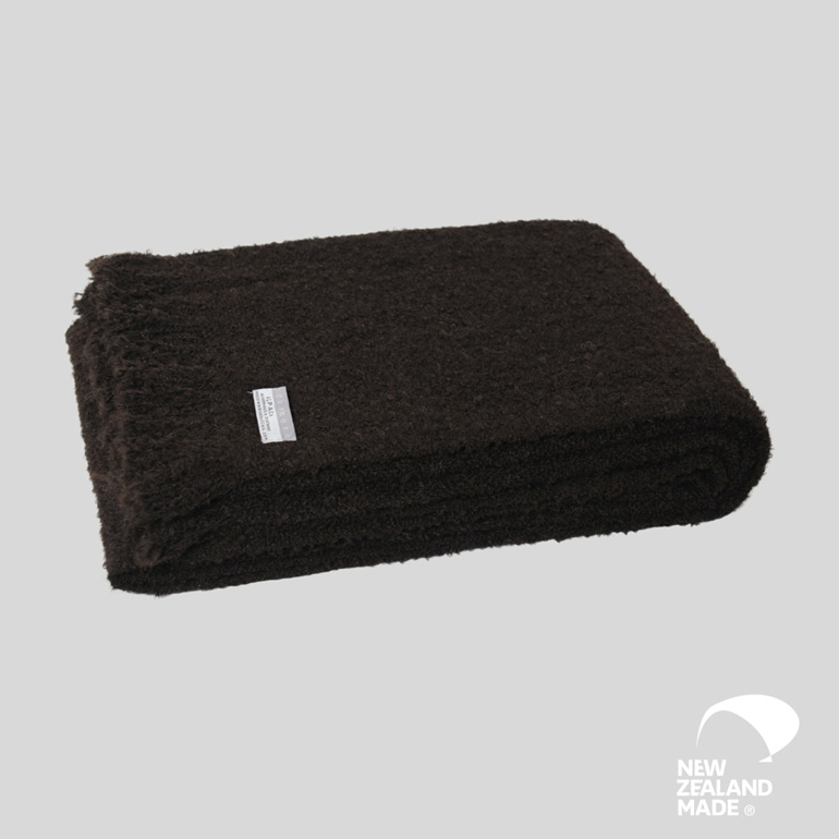 New Zealand Made Alpaca Throw Blanket Boucle Black
