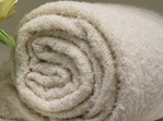 New Zealand Made Alpaca Throw Blanket Boucle Cream Rolled