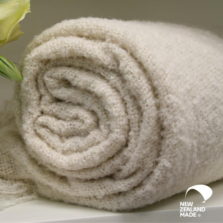 New Zealand Made Alpaca Throw Blanket Boucle Cream Rolled