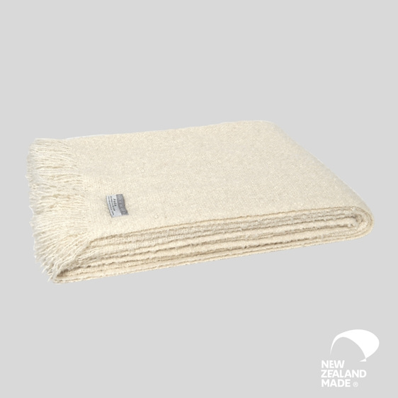 New Zealand Made Alpaca Throw Blanket Boucle Cream
