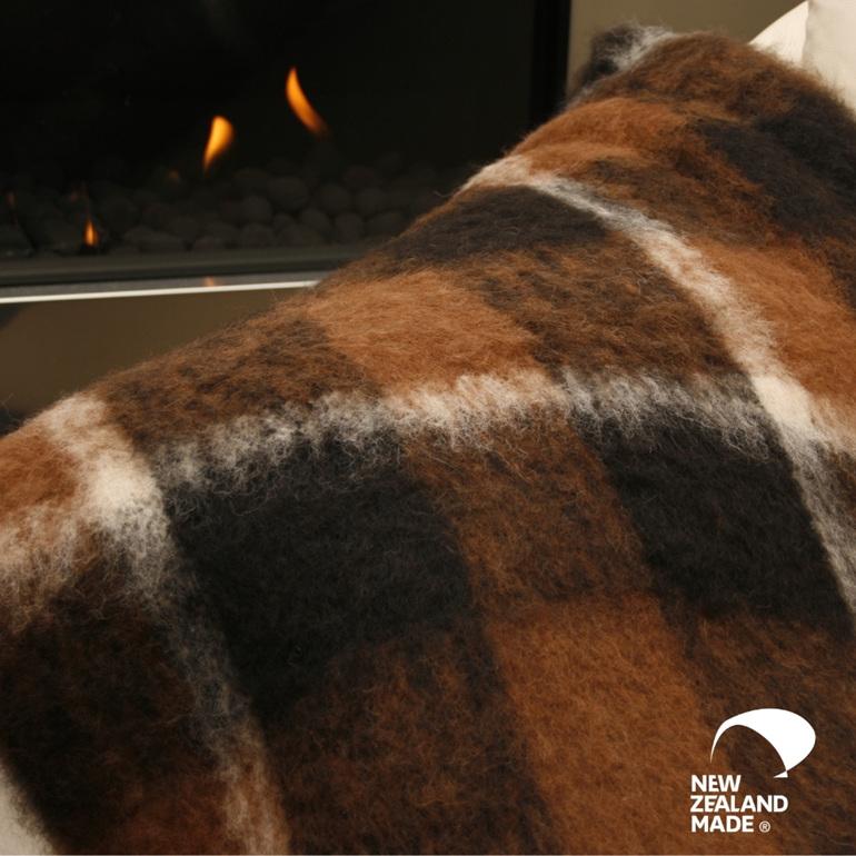 New Zealand Made Alpaca Throw Blanket Buffalo on Couch