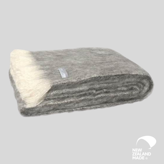 New Zealand Made Alpaca Throw Blanket Granite
