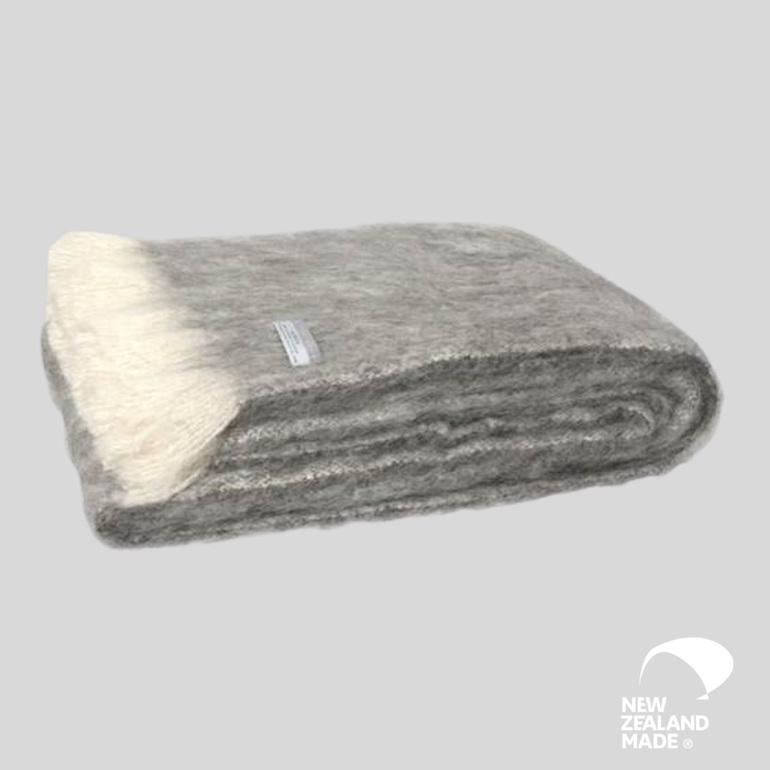 New Zealand Made Alpaca Throw Blanket Granite