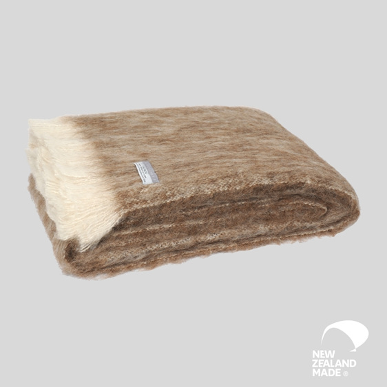 New Zealand Made Alpaca Throw Blanket Pumice