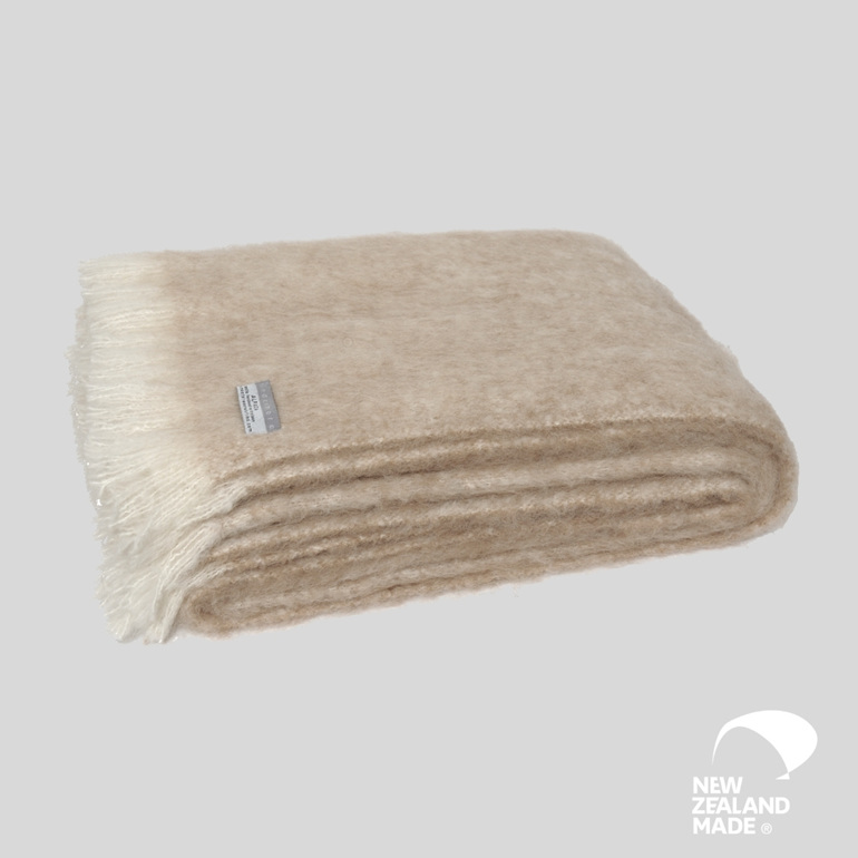 New Zealand Made Alpaca Throw Blanket Sand