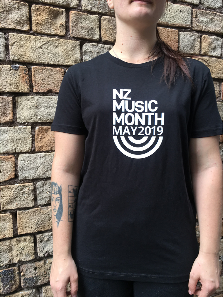 New Zealand music Month Black Tee, womens.