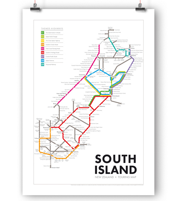 New Zealand Touring Map - South Island