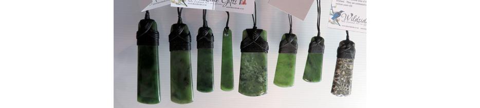 Wildside New Zealand Greenstone and Fossil Turritella pendants