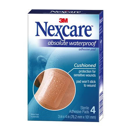 Nexcare Absolute W/Proof Adhes Pad 4