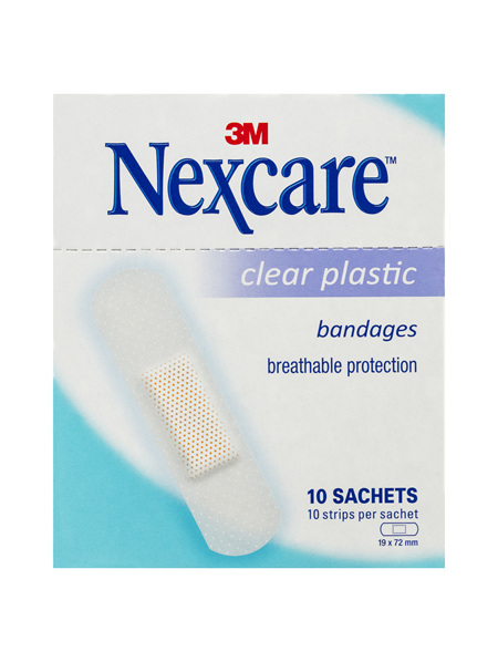 Nexcare Clear Plastic Strips 10 Sachets/Box