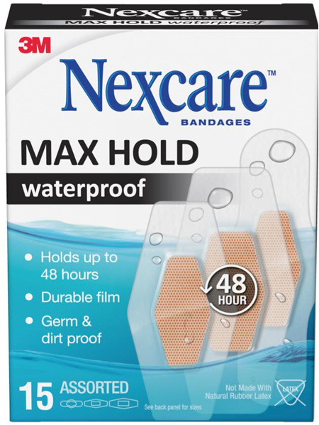Nexcare Max Hold Waterproof Bandages Assorted 15S