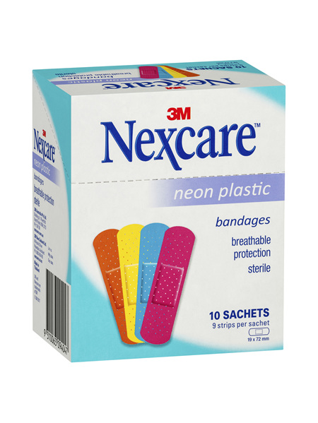 Nexcare Neon Plastic Strips 10 Sachets/Box