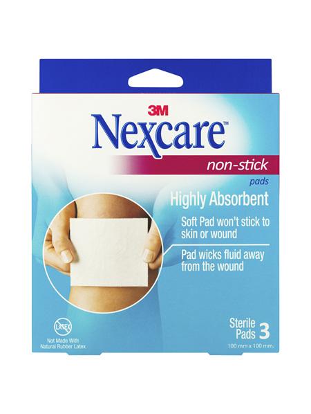 Nexcare Non Stick Pad 100 Mm X 100 Mm 3 Pk