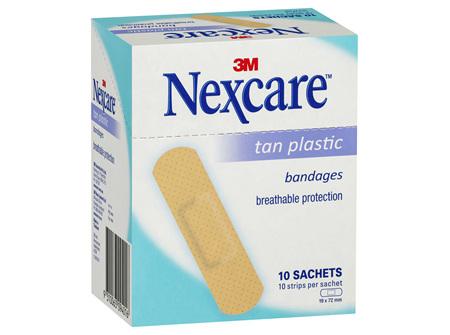 Nexcare Tan Plastic Strips 10 Sachets /Box