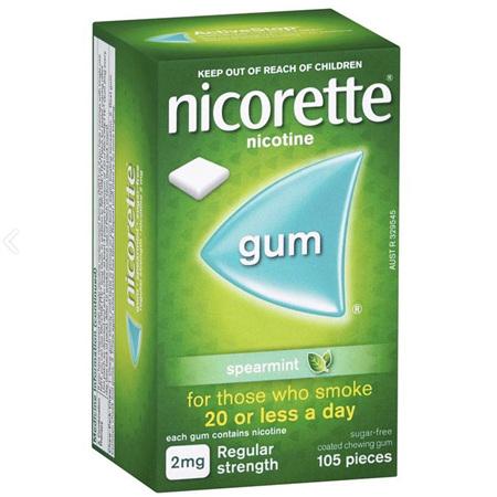 NICORETTE GUM SPEARMINT 2MG 105 PIECES
