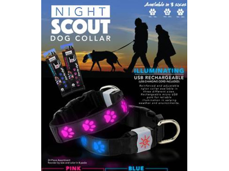 Night Scout Dog Collar Pink Lg
