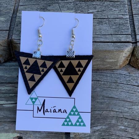 Niho Taniwha Triangle - Faux Leather Earrings