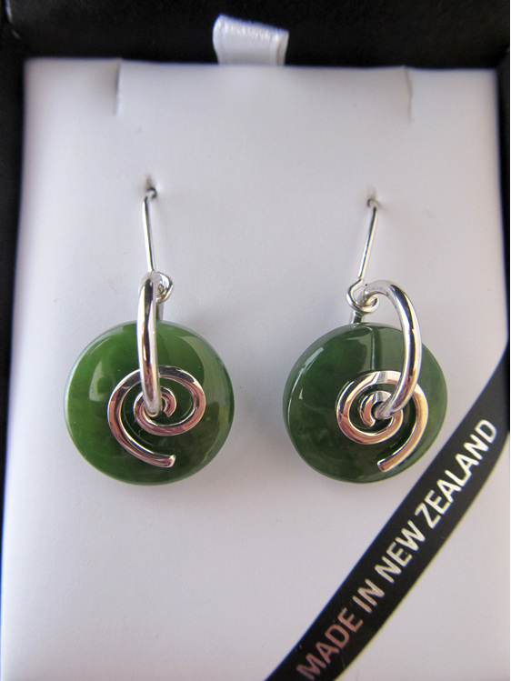 NN5050 Smooth round greenstone earrings with silver koru.