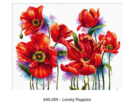No Count Cross Stitch - Lovely Poppies