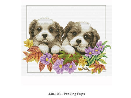 No Count Cross Stitch - Peeking Pups