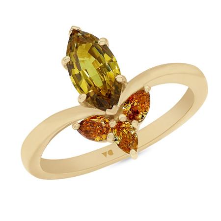 Noble: Golden Sapphire and Orange Diamond Ring