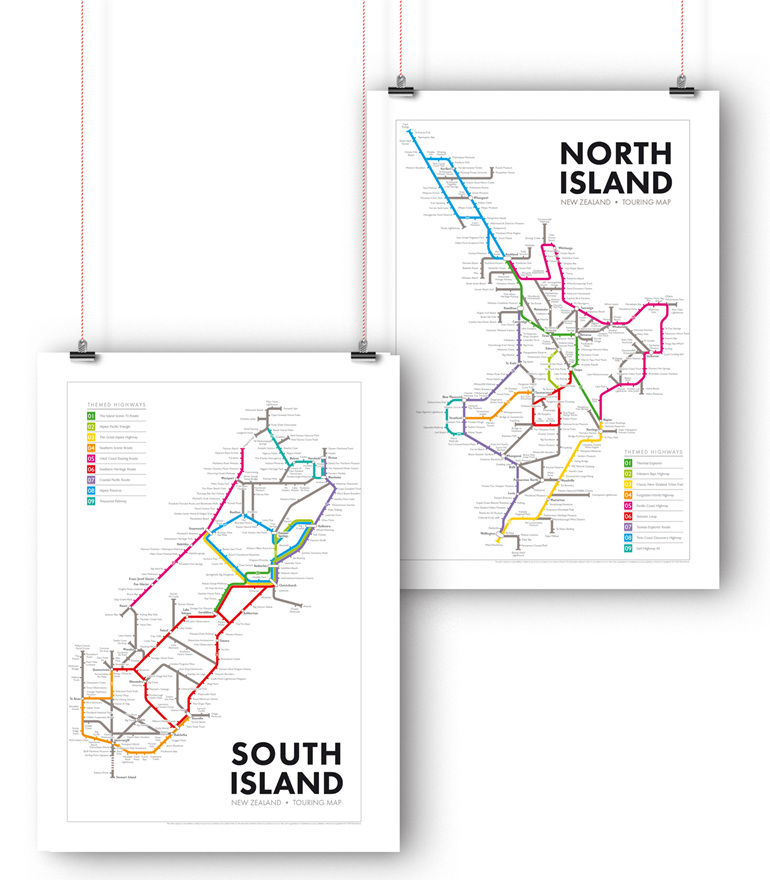 North and South Island  New Zealand Touring Maps
