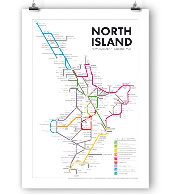 North Island New Zealand Touring Map