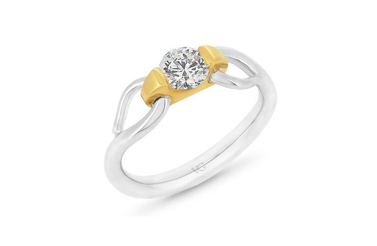 Nortic, Diamond Engagement Ring, Two Tone Ring, Platinum Ring, Gold Ring,