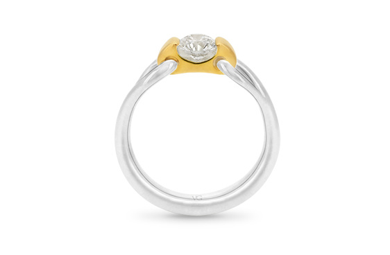 Nortic, Diamond Engagement Ring, Two Tone Ring, Platinum Ring, Gold Ring,