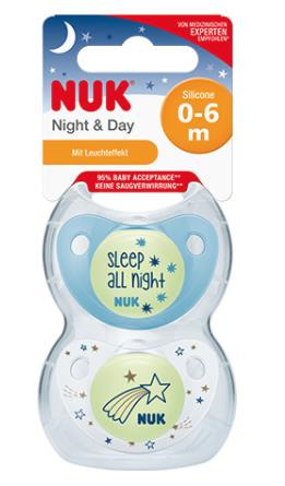 NUK NIGHT & DAY 0-6 MONTHS GLOW IN DARK SILICONE TEATS 2 PACK