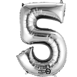 Number five megaloon 40cm foil balloon - gold or silver
