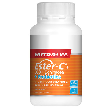 NUTRA-LIFE Ester C Echinacea & Probiotic Chew 60T