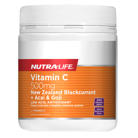 NUTRA-LIFE Vit C 500mg Blackcurrent + Acai & Goji 200T