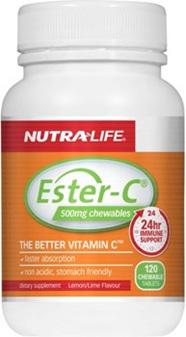 NutraLife EsterC 500mg Lemon  Lime Chewable Tablets 120s