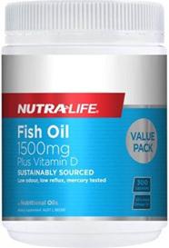 NutraLife Fish Oil 1500mg Vitamin D Capsules 300s
