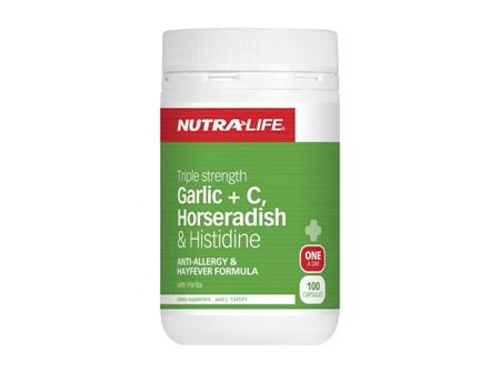 Nutralife Garlic + Vitamin C Horseradish and Histadine 100 capsules